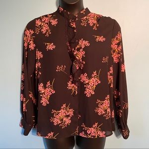 Who What Wear floral cottagecore ruffled blouse